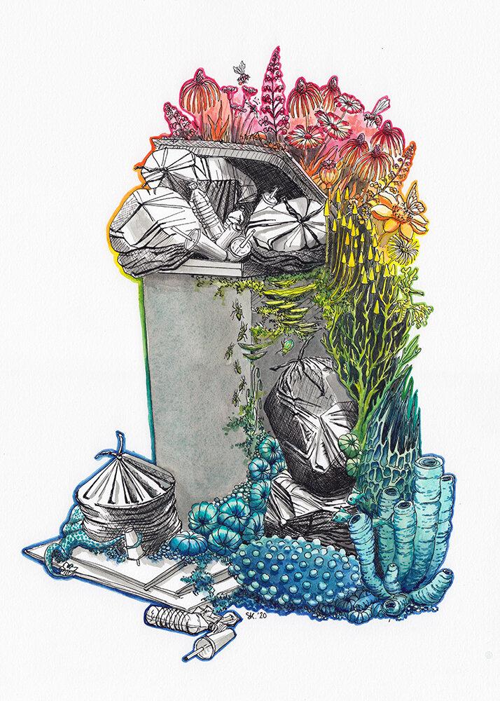 斯蒂芬妮·基尔加斯特(Stephanie Kilgast),《自然不会产生垃圾,水墨和水彩画》,2020年