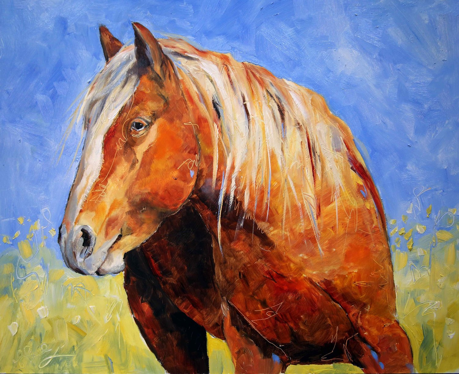 Sunlight Horse Painting By Artist Laurie Pace