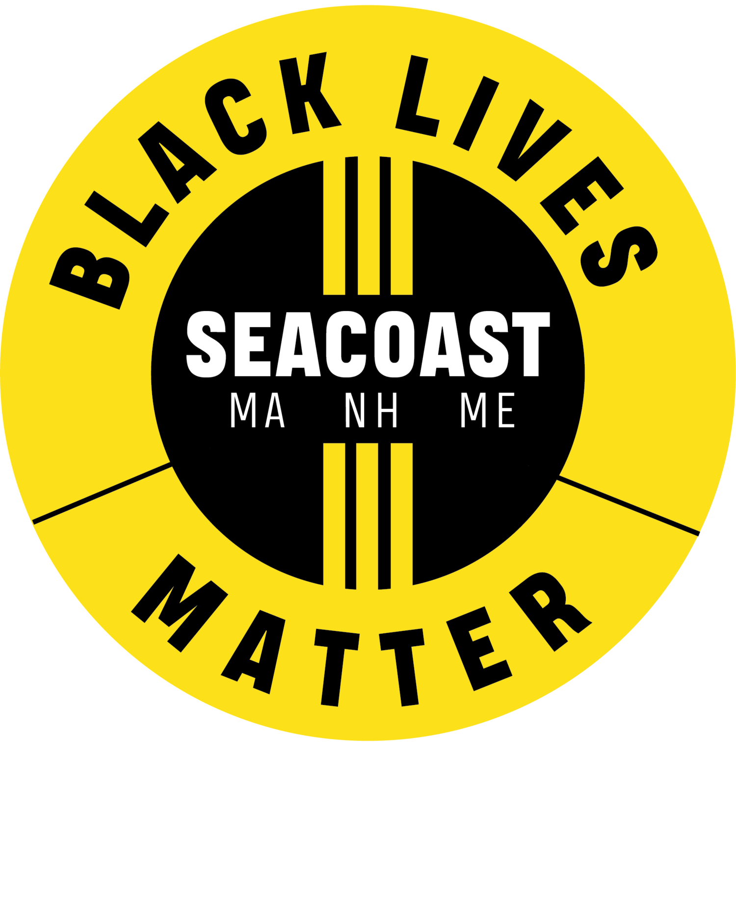 circular logo in yellow with words Black Lives Matter Seacoast