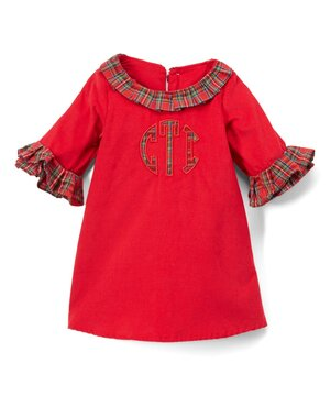 Red Corduroy Plaid-Accent Monogram Dress - Infant & Toddler  $44.99