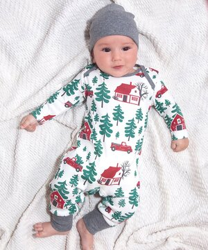 Red & Green Christmas Cabin Playsuit - Newborn & Infant  $22.99