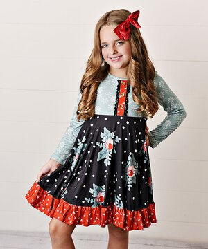 Mint & Navy Snowflake & Holly Fit & Flare Dress - Toddler & Girls  $24.99