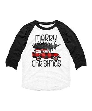 White & Black 'Merry Christmas' Truck Raglan Tee - Toddler & Boys  $16.99