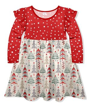 Red & Beige Star Tree Ruffle-Sleeve Dress - Toddler & Girls  $16.79