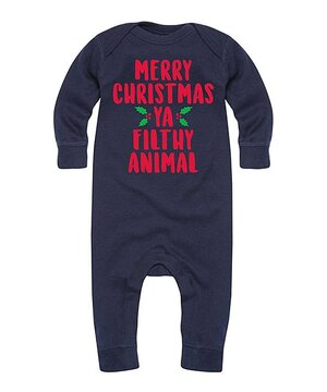 Navy 'Merry Christmas Ya Filthy Animal' Playsuit - Infant  $12.99