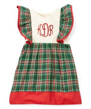 Green Plaid Monogram Pinafore Dress - Infant & Toddler  $49.99