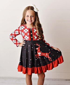 Red & Black Reindeer Button-Front Ruffle A-Line Dress - Toddler & Girls  $24.99