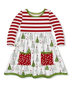 Red & White Stripe Christmas Tree Pocket-Front A-Line Dress - Toddler & Girls  $17.99
