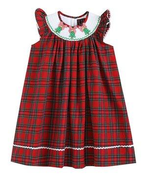 Red & Green Tartan Christmas Tree Angel-Sleeve Bishop Dress - Infant, Toddler & Girls  $21.99