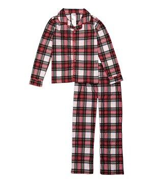Red & White Plaid Button-Front Pajama Set - Toddler & Boys  $14.99