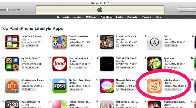 LaLa Lunchbox (by my wife) hit's #14 on the App Store