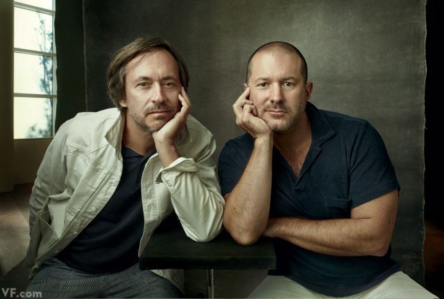 Photograph by  Annie Leibovitz  for Vanity Fair: Marc Newson and Jonathan Ive, photographed on Apple's campus, in Cupertino, California. No corporate secrets were harmed in the making of this picture.