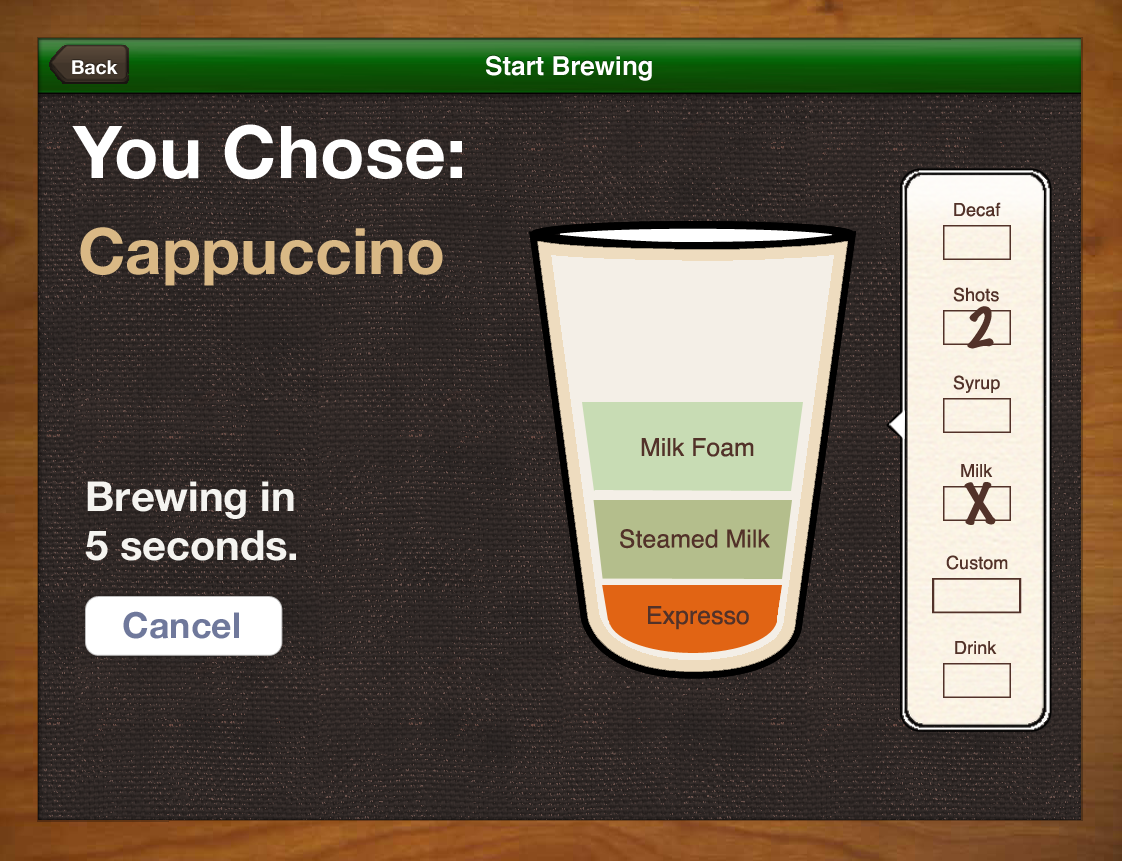 Brewing Confirmation Screen