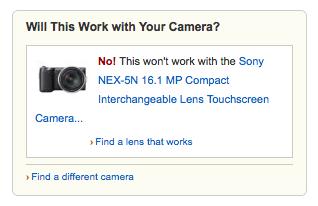Amazon's camera lens compatibility widget