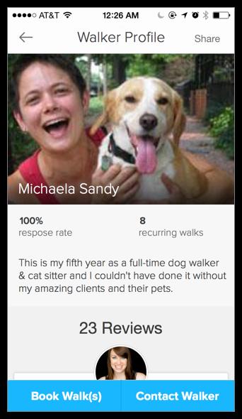 Dog walker profile top.