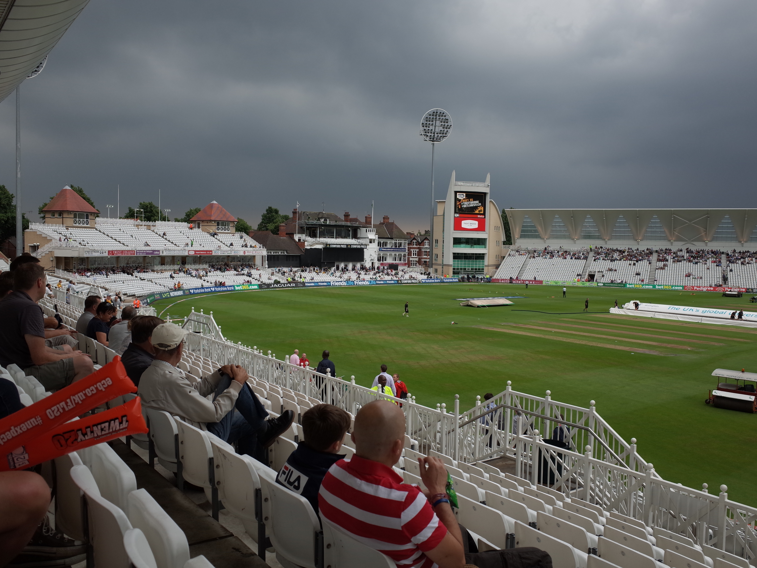 Trent Bridge, Nottingham, England.   Derbyshire give Notts a cricketing lesson in the gathering gloom of a stormy night. Ricoh GR 1/125sec  f5.6 @ ISO100