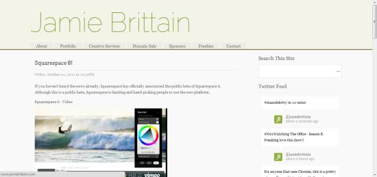 JamieBrittain.com is built on Squarespace