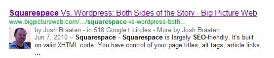 Google's authorship markup snippet