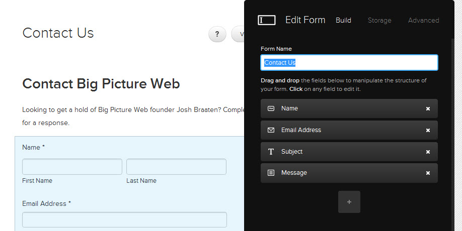 Squarespace 6's forms export easily to an email address, Google Doc, or a MailChimp list.