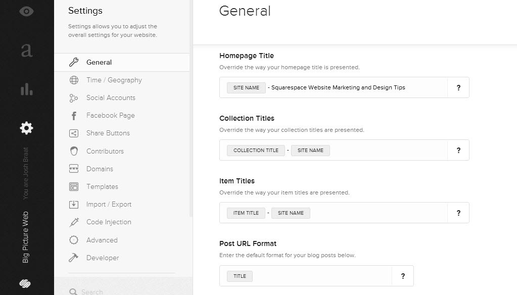 Squarespace 6 provides more advanced meta data structure options for your pages.