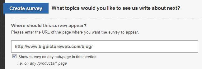 Creating a Qualaroo survey on a Squarespace blog.