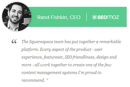 SEO industry hero Rand Fishkin endorses Squarespace.