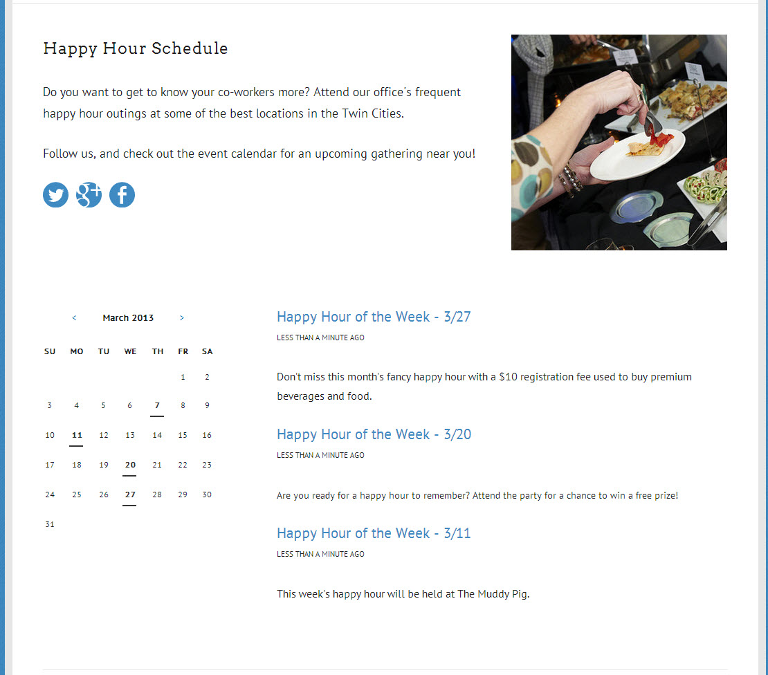 A Squarespace event landing page using the calendar block.