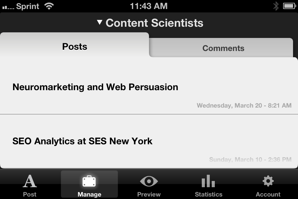 The Squarespace mobile app for iOS is a mobile publishing force.