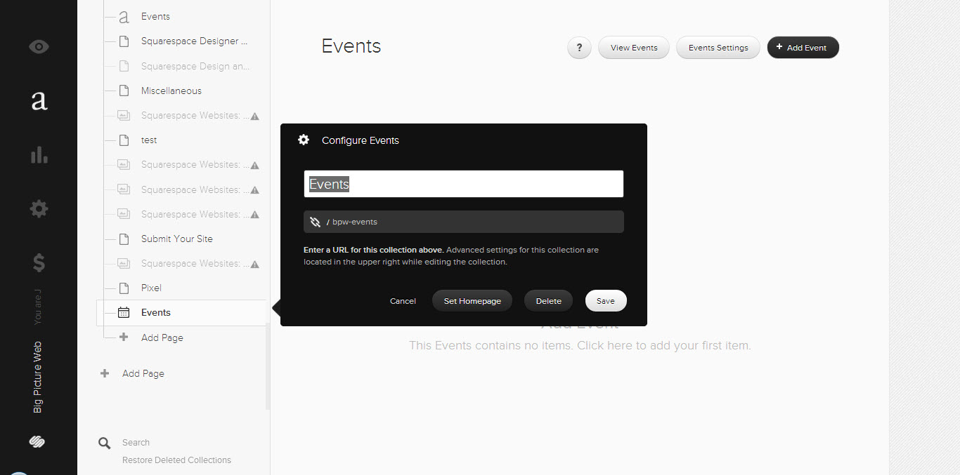 Add a Squarespace event collection to your navigation by adding a page.