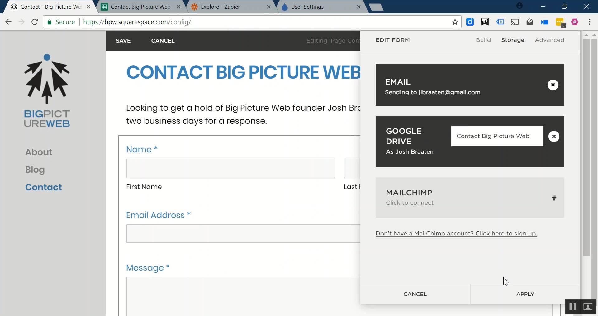 The name of the Google Sheet document we're looking for is: Contact Big Picture Web.
