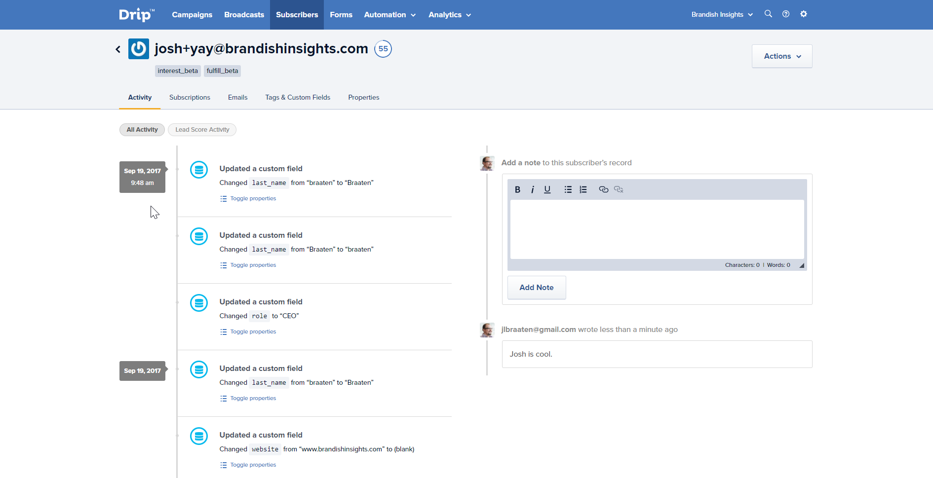 Drip's contact management features will make you feel like you've got a world-class CRM.