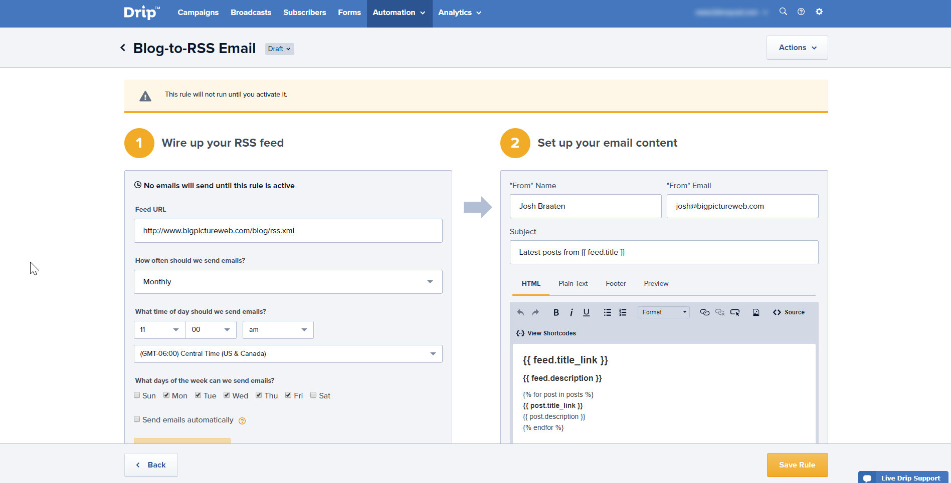 With some simple configuration and a few dynamic values, you'll never have to manually send out blog updates again.