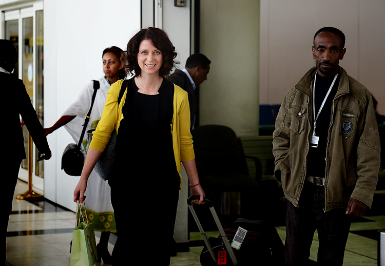 Gabrielle Blair  , entering the arrivals hall at the Addis Ababa international Airport. I love her expression of excitement on her face -- it's the same expression I saw on each blogger as they arrived (and the one I felt on my own face when I did the same).