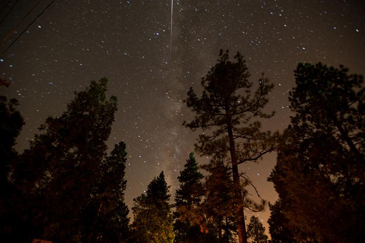 """meteor streak and the milky way"" by  jenifer hanen  (idyllwild, california, usa)"