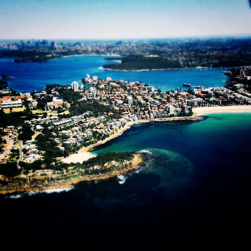 A view from a seaplane of one of Sydney's beautiful bays.