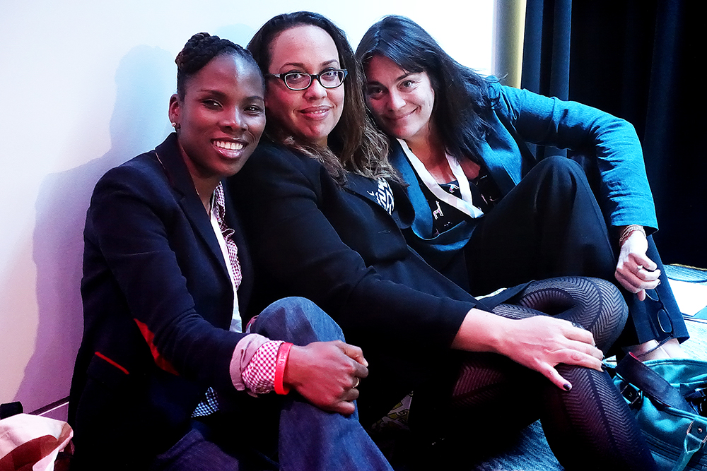 The conference was standing-room only, but it didn't matter:  we were all just thrilled to be in the room at all.  Three of the lovely powerhouses who attended, from left to right:    Luvvie Ajayi  ,   Kelly Wickham   and   Meredith Walker  .  Amazing women, all.