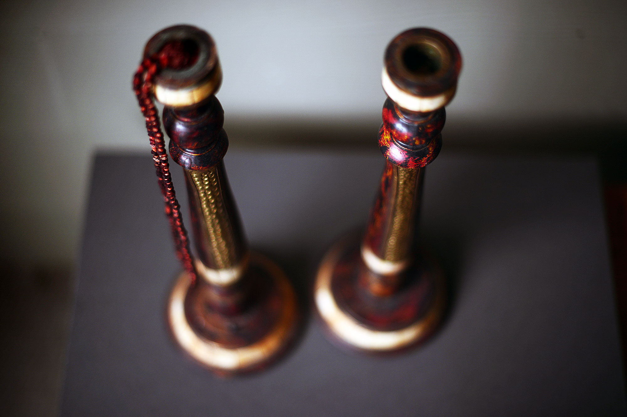 A pair of antique Indian candlesticks I bought on a whim a few months ago. They'll go on the new mantel.