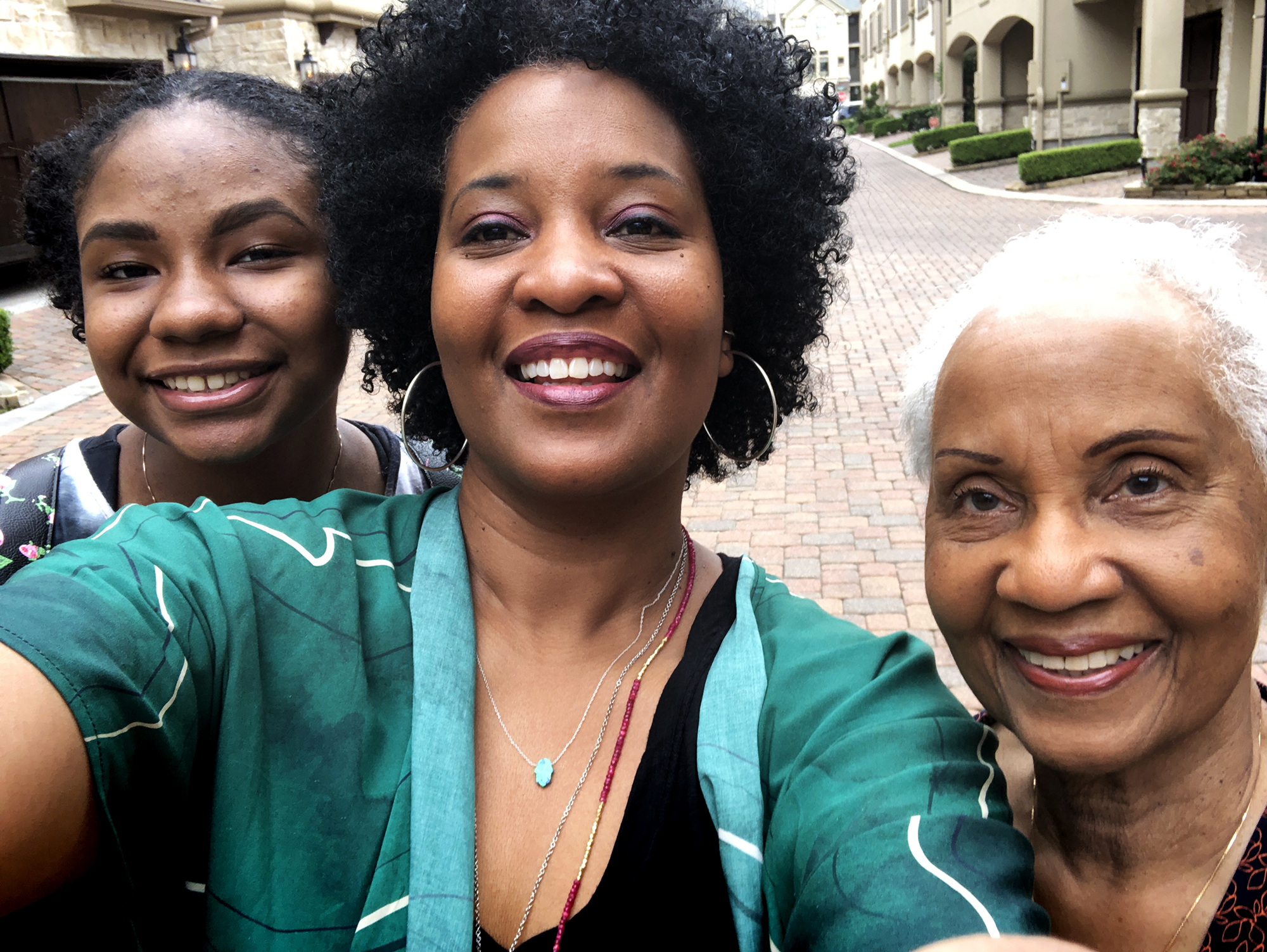 """My daughter (age 15), me (age 51) and my mom (I'm not allowed to tell you her age, but it rhymes with """"matey"""") on Mother's Day, 2019."""