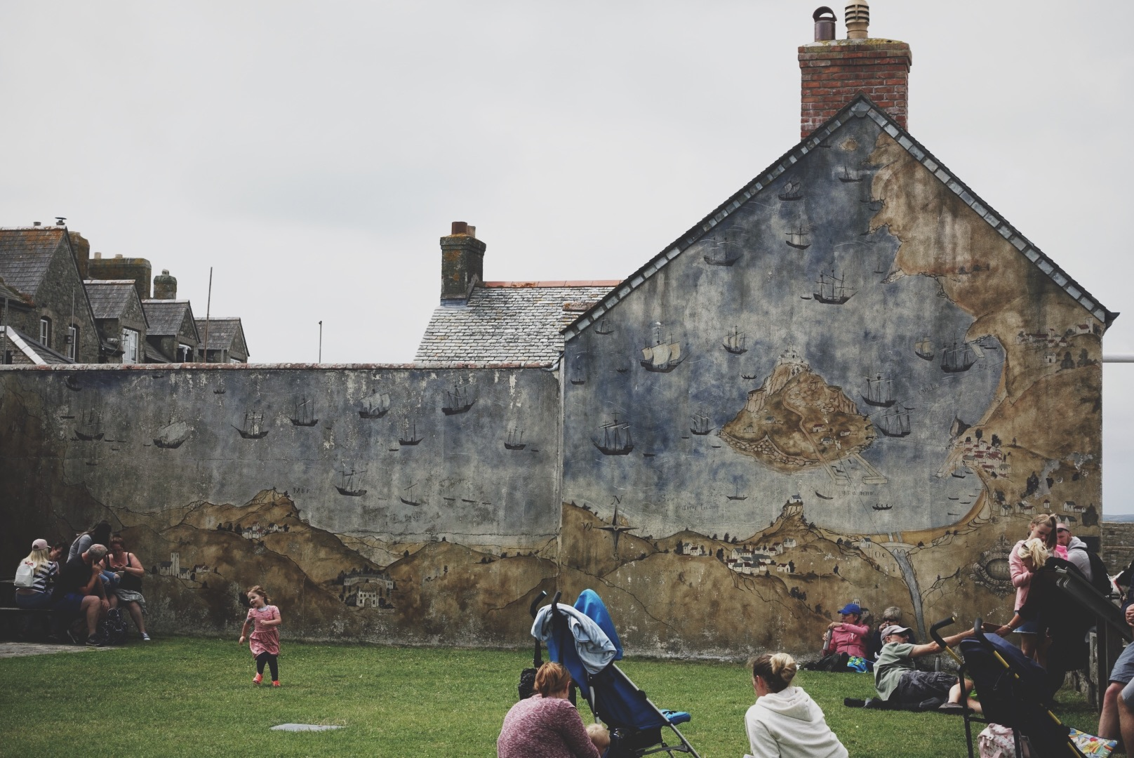 A mural on the side of a building on St. Michael's Mount, of … you guessed it … St. Michael's Mount.