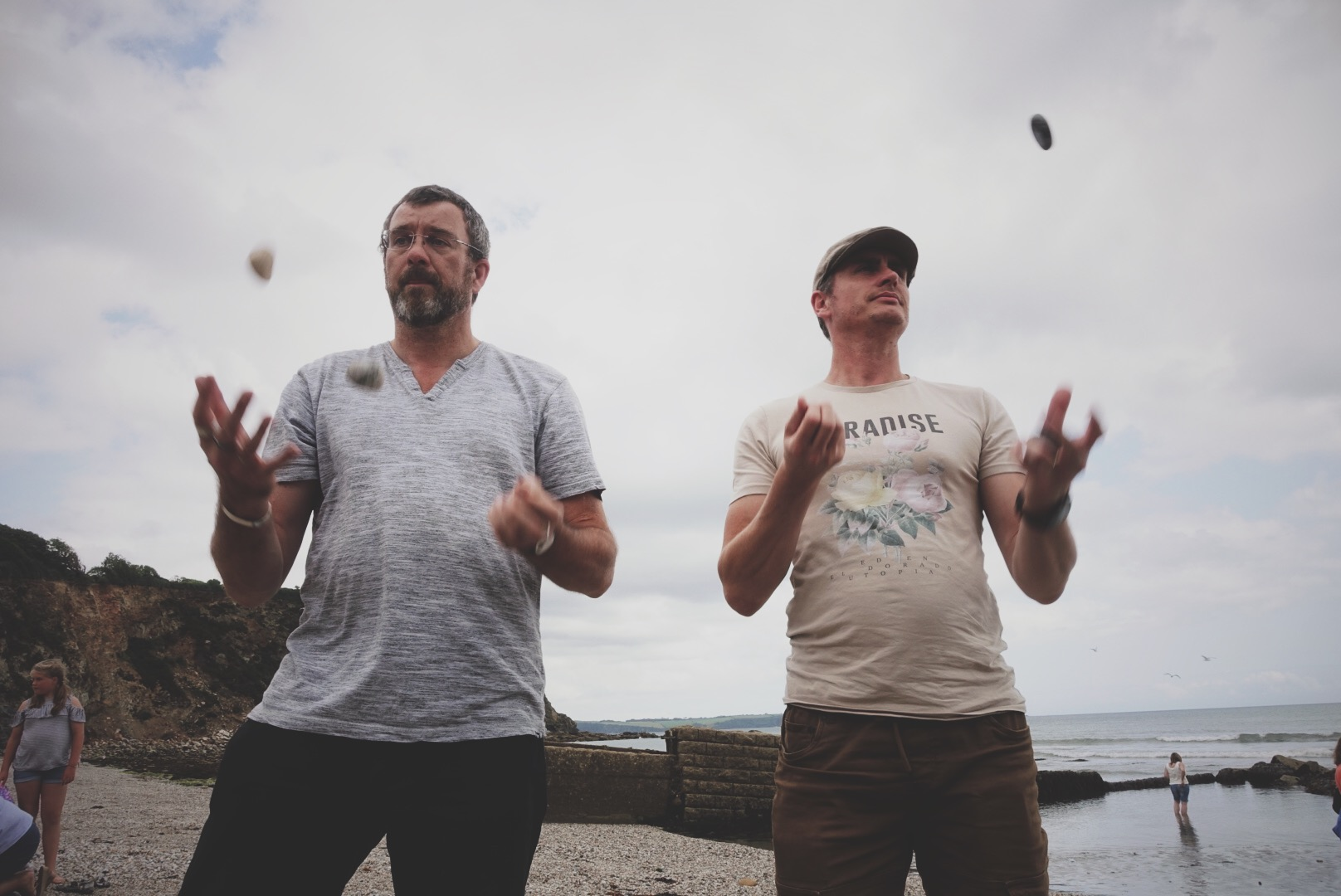 Marcus and his brother Nathan (who lives in Vancouver, Canada), making good juggling use of the pebbles on the beach.