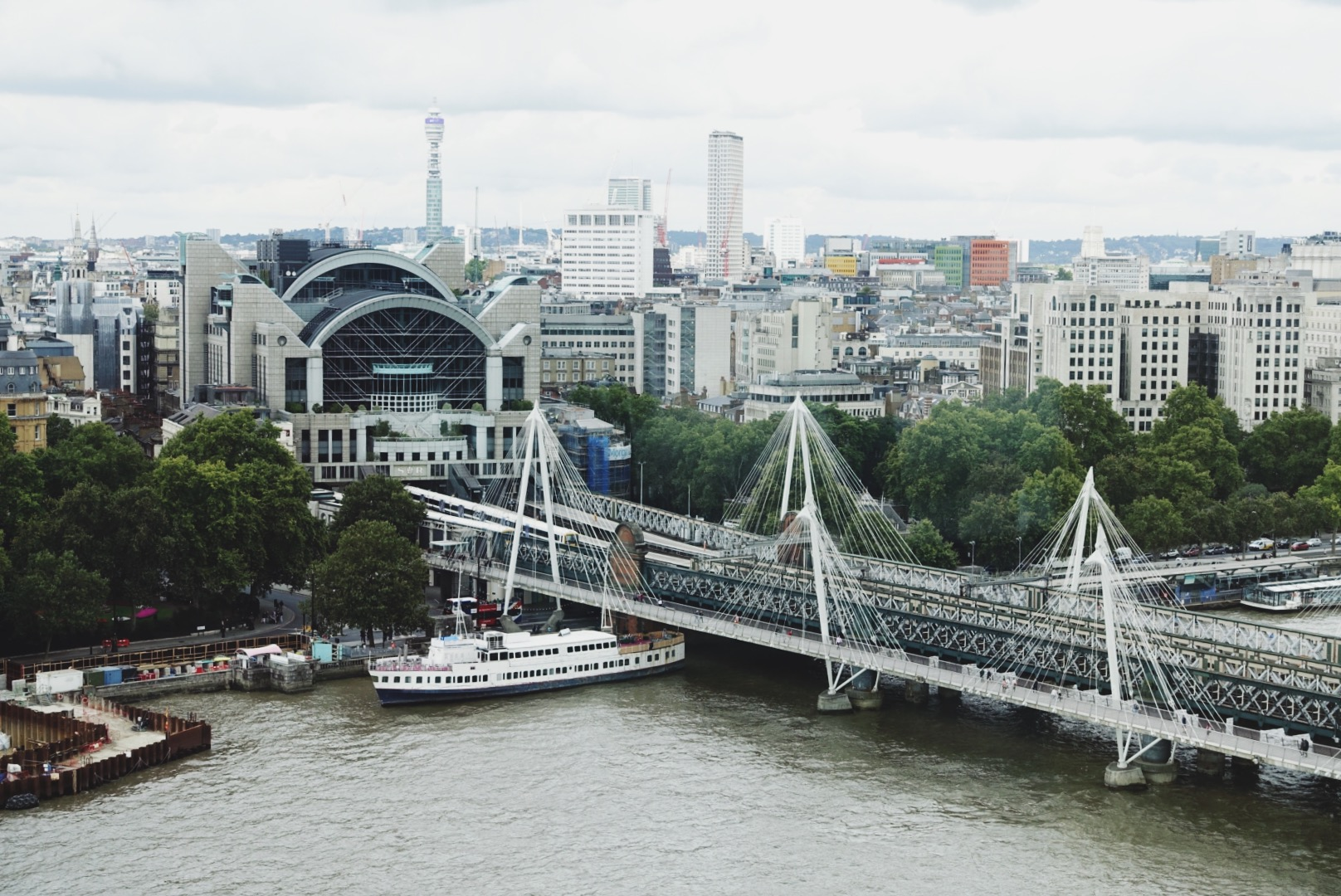 Charing Cross train station from the London Eye. Such a cool building.