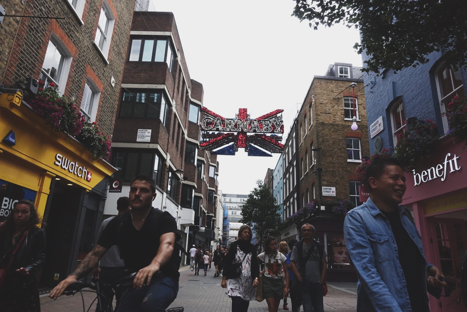 Carnaby Street    . Because no itinerary Alex is responsible for is complete without some serious shopping.