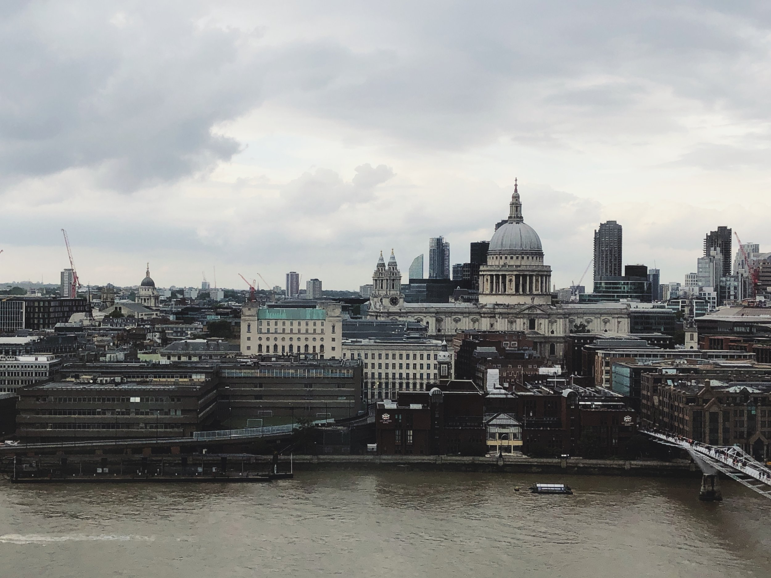 A view of     St. Paul's Cathedra    l (over 1400 years old!) from the 9th floor of     the Tate Modern museum    .