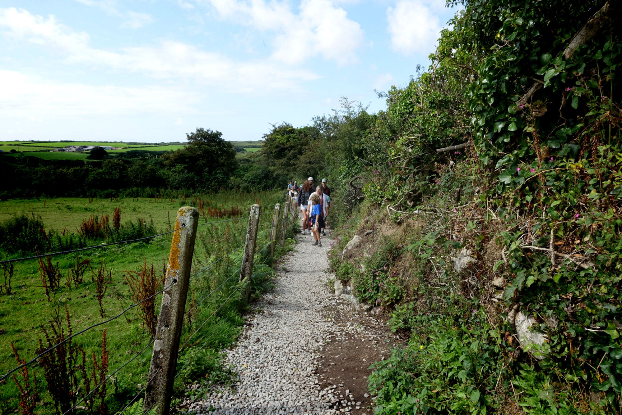 Hiking toward the ancient village of    Chysauster, Cornwall   .
