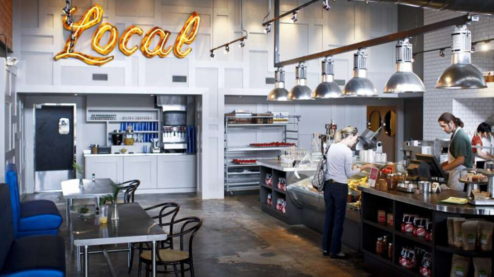 Local Foods  . Casual local chain, featuring super fresh food (one of Kim's favourites!). The downtown location is at the METRORail Main/Prairie train stop. The renovated Art Deco building from 1930's features a seasonal menu with locally-sourced ingredients.