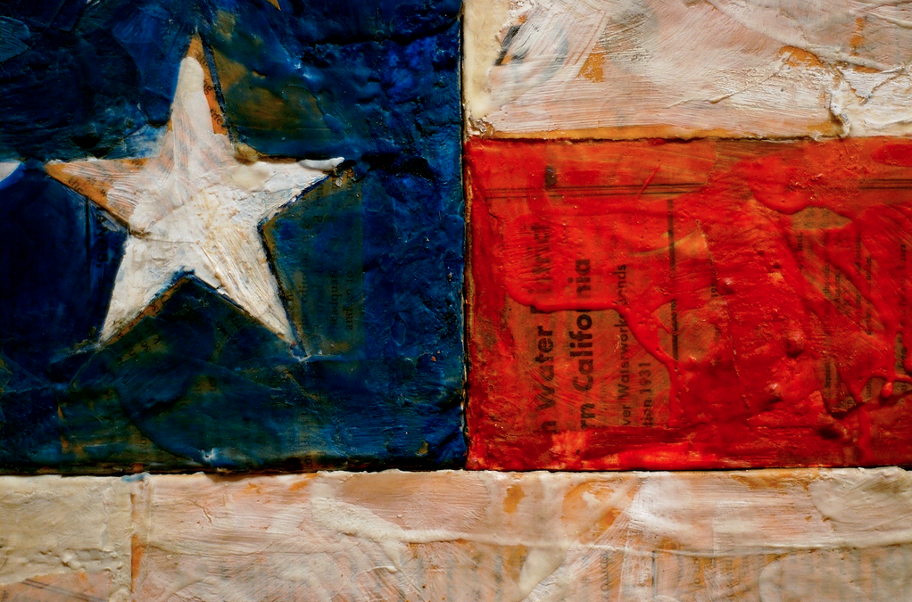 Detail of Jasper Johns American Flag No. 2 by Nelson Lau of Looking Glass Photography.