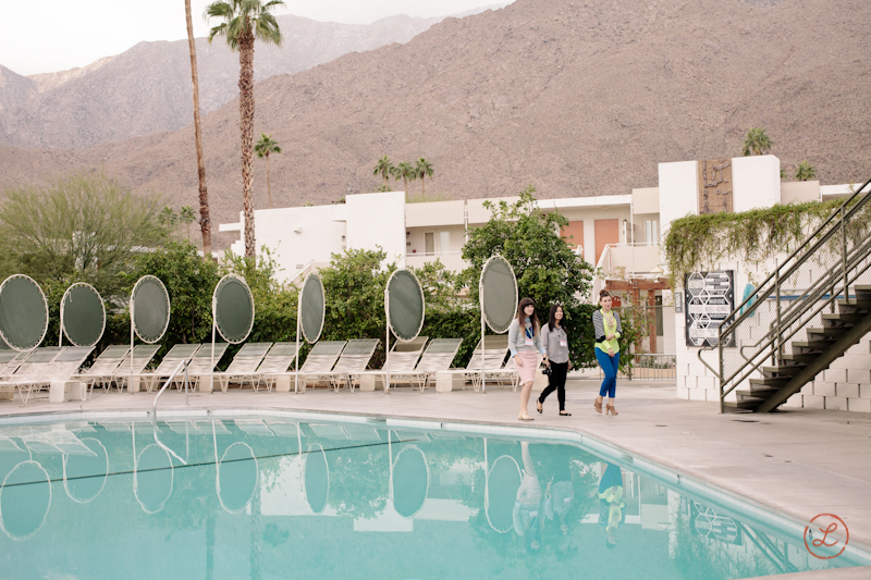 Jordan Ferney , mystery women and  Jihan Zencirli  walking to breakfast by the  Ace Hotel  Pool.