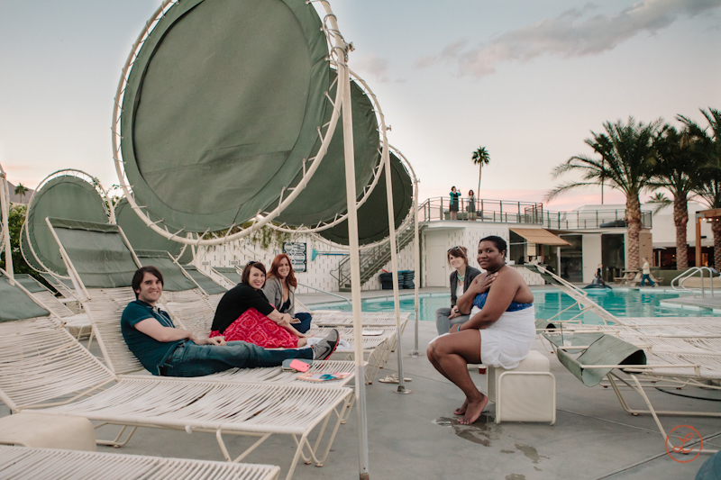 That's  Nathan ,  Holly ,  Heather ,  Brittany  and  Heather  lounging by the pool.
