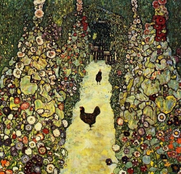 Gustav-Klimt-Garden Path with Chickens.vibrant.JPG