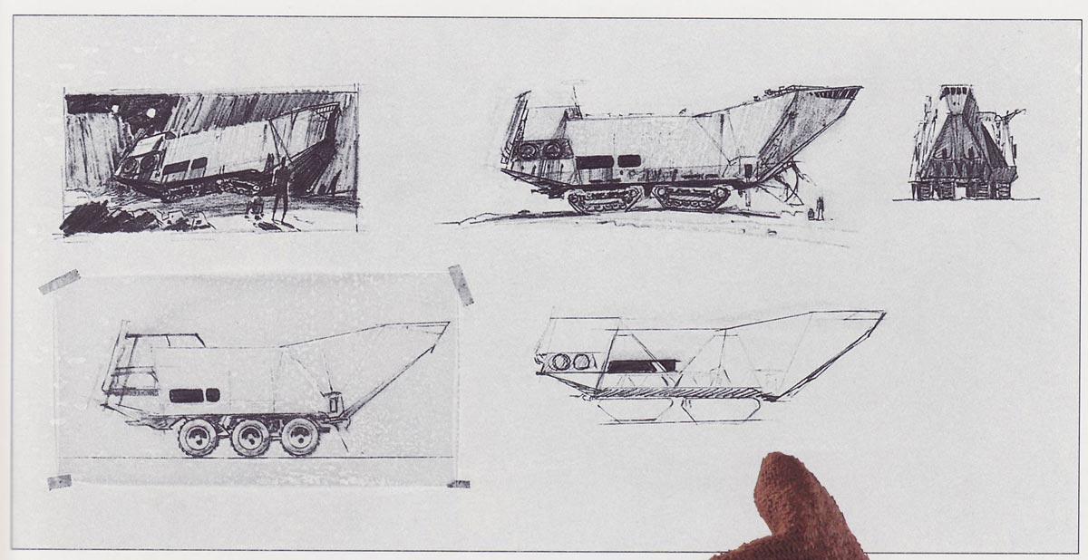 Ralph McQuarrie's initial sandcrawler designs.